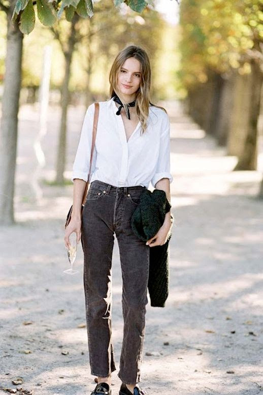 Le Fashion Blog Model Off Duty Street Style Tilda Lindstam Black Neck Scarf White Button Down Blouse Cropped Corduroy Pants Loafers Via Vanessa Jackman