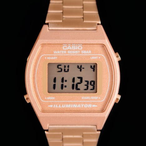 Casio B640WC-5AEF - Montre Casio vintage LCD or rose