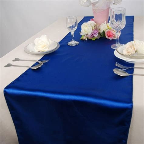royal blue satin table runners  wedding party