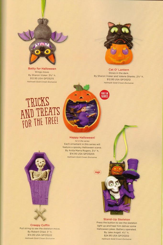 2013 Hallmark Halloween ornaments black cat pumpkin witch skeleton