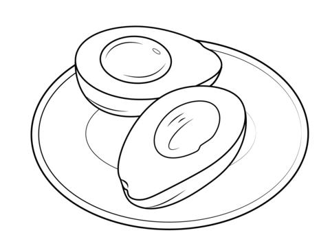 Dibujo De Aguacate En Un Plato Para Colorear Dibujos Para Colorear