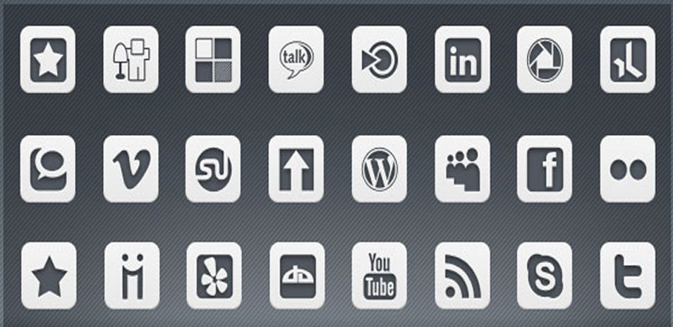 1,540 inFocus Simple White Social Media Icons