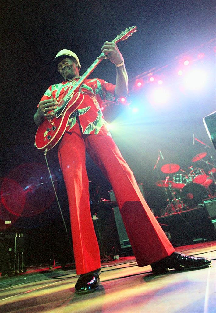 "In this Tuesday, July 28, 199 file photo, Chuck Berry performs during the ""Legends of Rock 'n' Roll"" at the Hallenstadion in Zurich, Switzerland. Berry headlined the show that also featured appearances by Little Richard and Jerry Lee Lewis. On Saturday, March 18, 2017, police in Missouri said Berry has died at the age of 90."