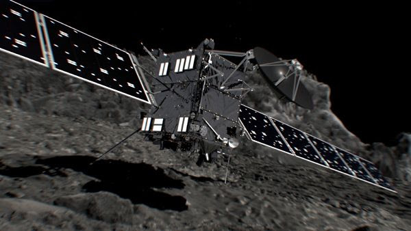 An artist's concept of the Rosetta spacecraft about to crash land onto the surface of Comet 67P/Churyumov–Gerasimenko.