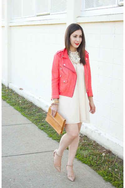 red leather Rebecca Minkoff jacket - eggshell Forever 21 dress