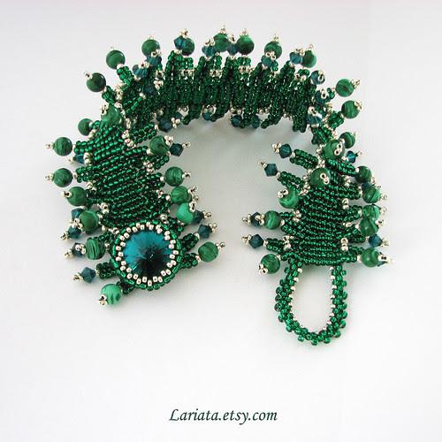 beadwoven cuff bracelet in emerald green with Swarovski by Lariata