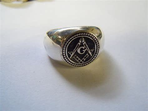 grz mens masonic  puff signet ring gold silver