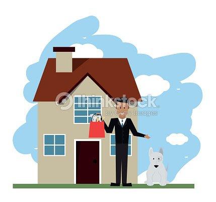 ペット ショップ犬と男のデザインベクトル イラスト ベクトルアート
