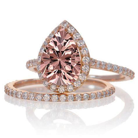 2 Carat Morganite and Diamond Halo Bridal Ring Set on 10k