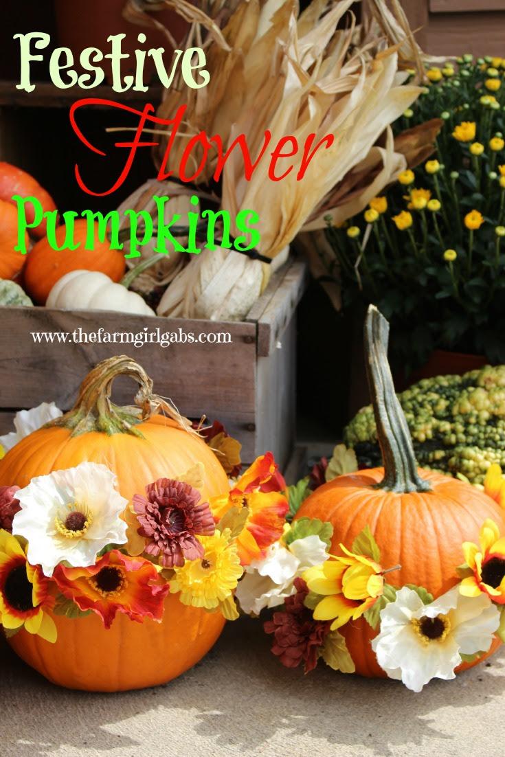 Festive Flower Pumpkins from How Does Your Garden Grow? ~ www.thefarmgirlgabs.com