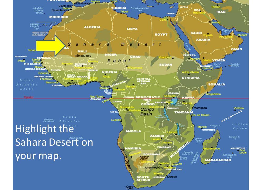 Africa Physical Map Sahara Desert Jungle Maps: Map Of Africa Sahara Desert