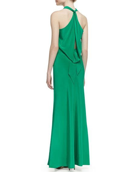 Nicole Miller Silk Jersey Bow Back Halter Gown, New