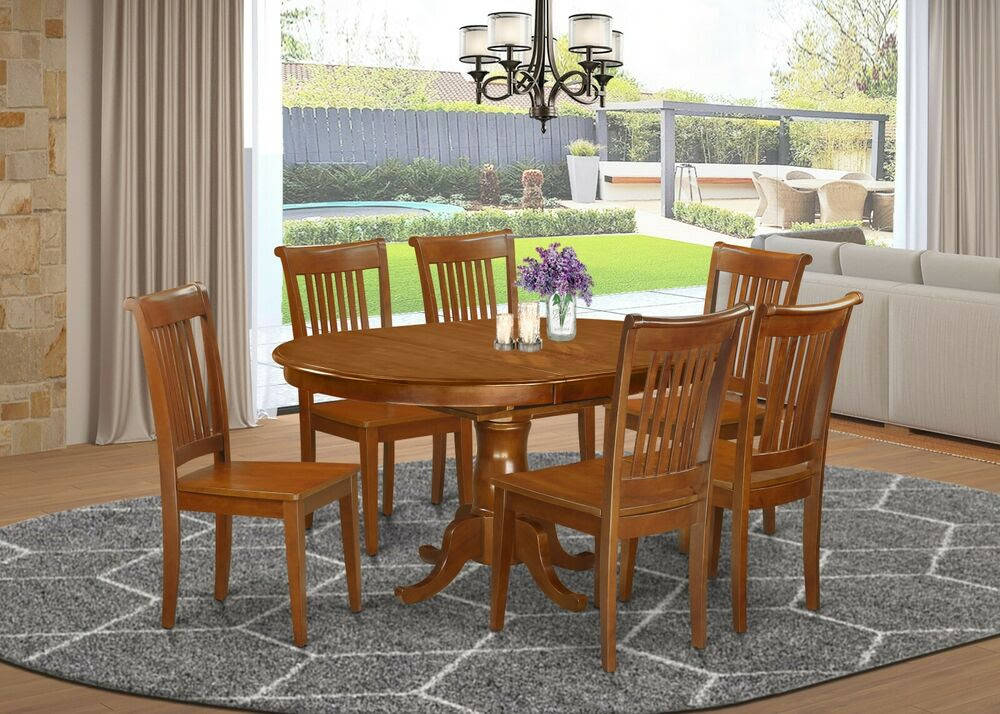7pc Portland oval kitchen dining set table   6 wood seat chairs saddle brown  eBay