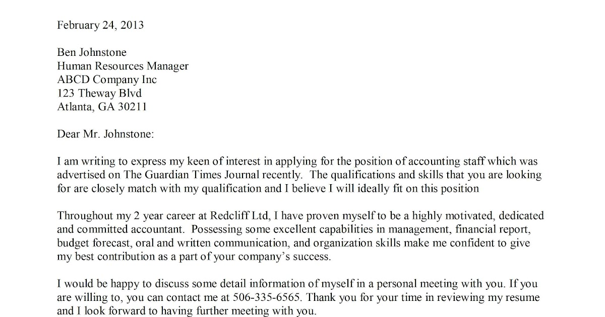 sample cover letter cover letter template for staff accountant