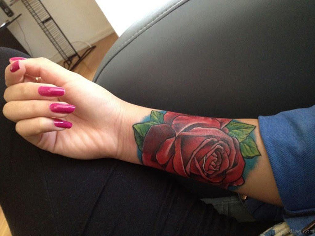 52 Wrist Colorful Rose Tattoo Designs
