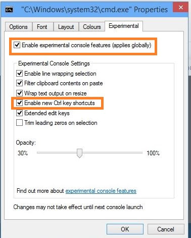 command prompt experimental to enable copy paste in cmd