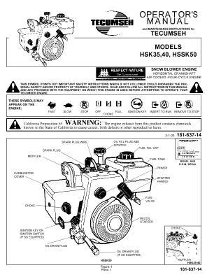 315E610E088 MTD TECUMSEH Snow Blower Engine Manual