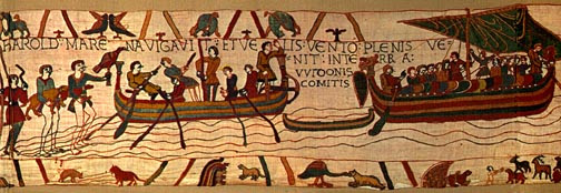 Bayeux Tapestry, panel 3: Harold has come into the land of Count Guy