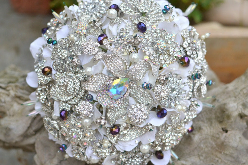 Peacock and purple brooch bridal bouquet -- made to order on a bridal bouquet