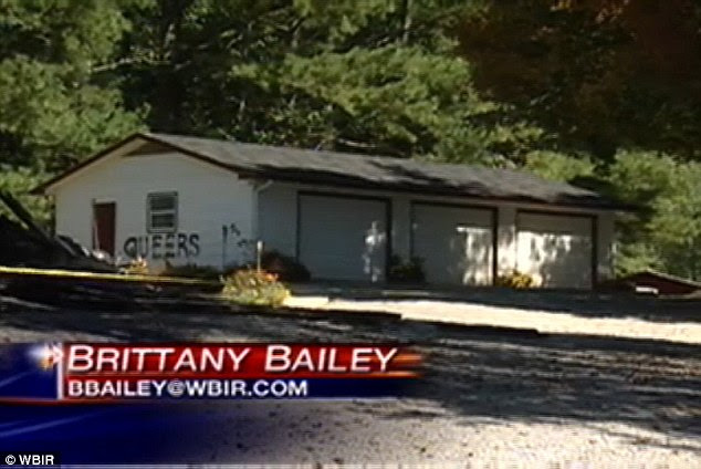 Lie: The court heard how the couple spray-painted the word 'queers' on their garage and later blamed their neighbor Janice Millsaps