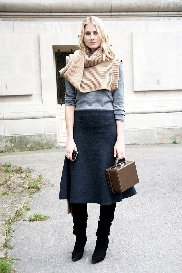 Le Fashion Blog Street Style Turtleneck Sweater Scarf Grey Knit Mark Cross Box Bag Flared Skirt Suede Knee High Boots Office Fall Winter Style Via Who What Wear