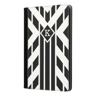 Black Quadrilateral Stripes on White with Monogram