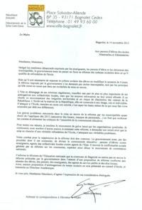 Lettre Maire de Bagnolet aux parents