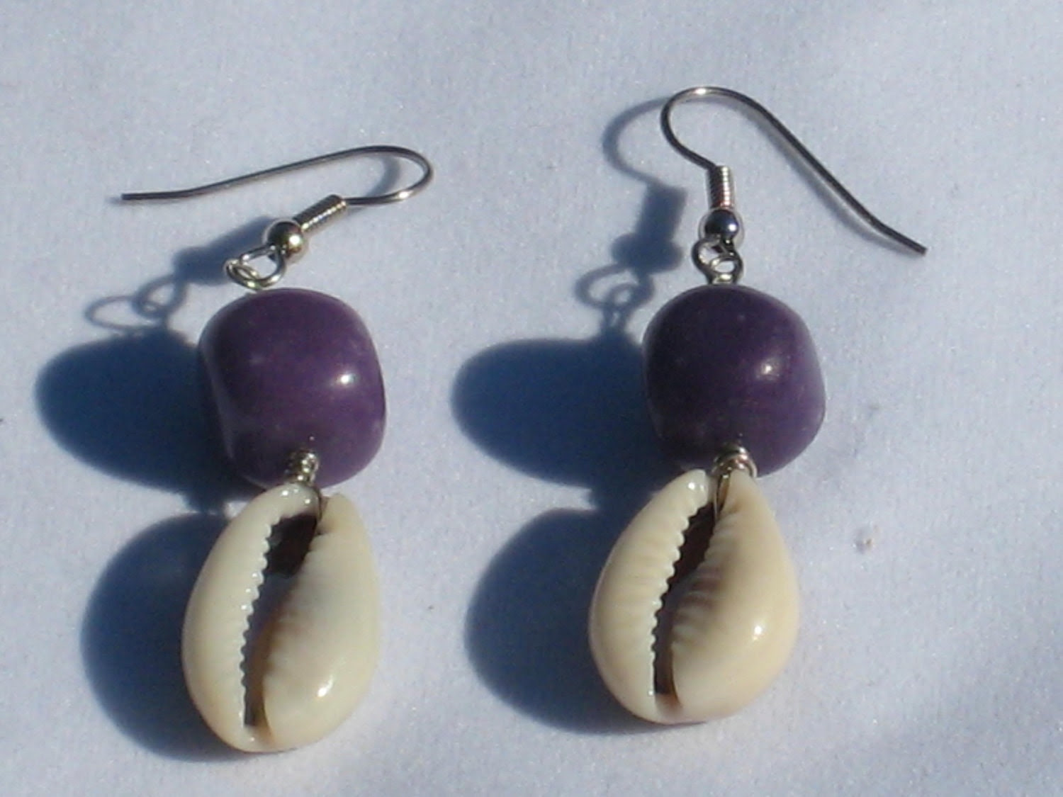 Purple Bead and Shell Earrings