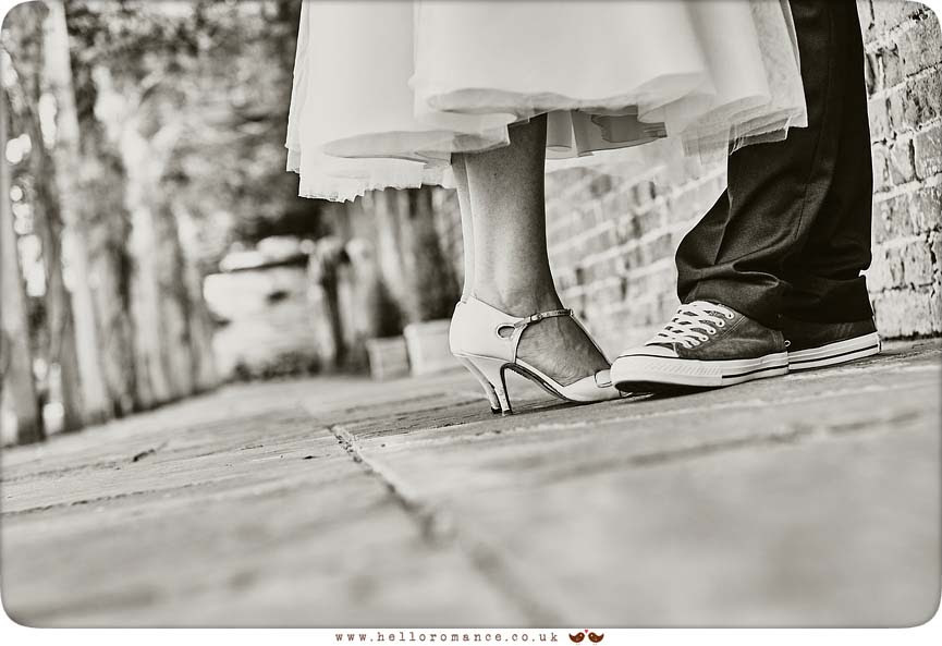 Cool bride and groom shoes photo in black and white - www.helloromance.co.uk