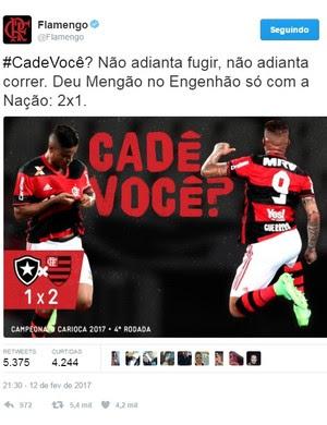 aac2b60682 Flamengo provoca Botafogo no Twitter (Foto  Reprodução Twitter)