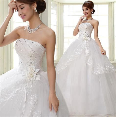 cheap strapless floral brides wedding dresses bridal