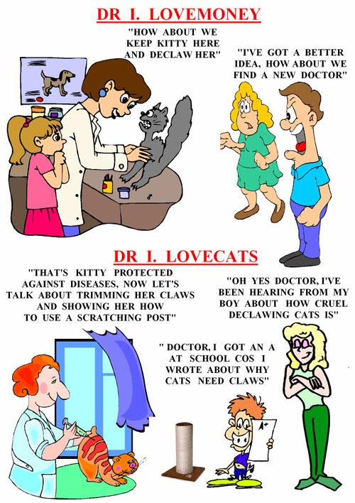 a poster portraying vets declawing for money not the health of the cat