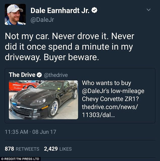 Racing driver Dale Earnhardt Jr. swiftly denied driving a car that a company was trying to sell