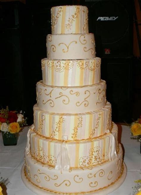 7 tier wedding cake with gold trim Hi Res 720p HD