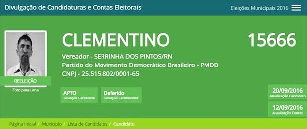 Clementino era candidato à reeleição em Serrinha dos Pintos (Foto: Reprodução/TSE)