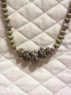 Green lampwork, stone, and silver