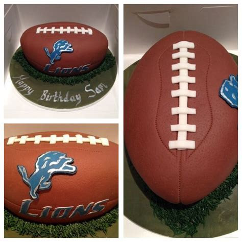 American football Detroit Lions cake   Lizzies Cake