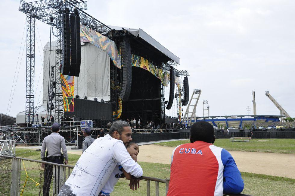 O palco onde tocarão os Rolling Stones em Cuba.