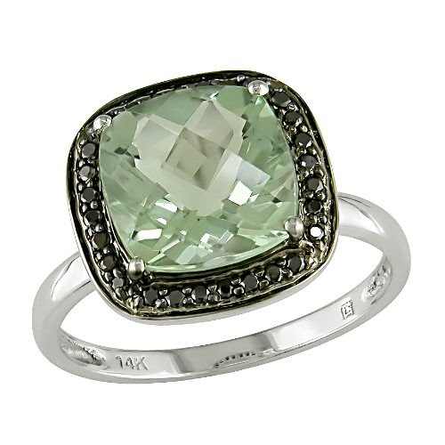 10K White Gold 1/10 ctw Black Diamond and Green Amethyst Ring