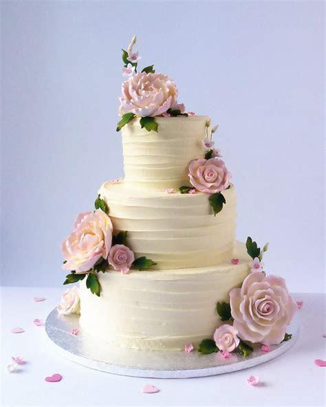 Buttercreamed Wedding Cake with Beautiful Blooms   Karen's