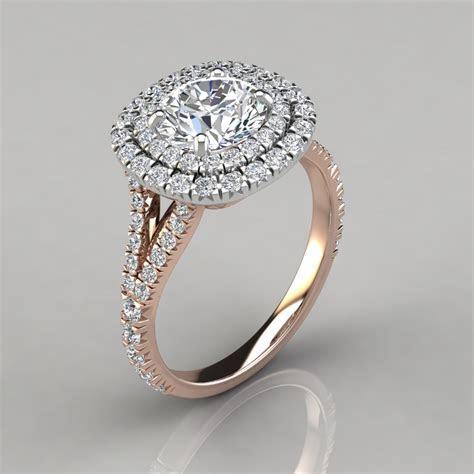 Split Shank Double Halo Engagement Ring   PureGemsJewels