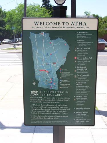 Anacostia Trails Heritage Area wayfinding sign, College Park Metro