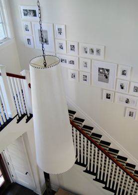 Suzie: S. RUSSELL GROVES  Black & white stair photo gallery, white tapered pendant light and ...