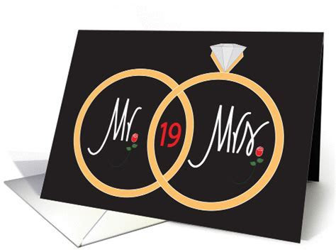 19th Wedding Anniversary, overlapping rings and roses card