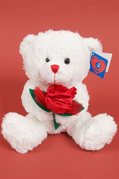 "9"" STUFFED TEDDY BEAR W/RED ROSE WHITE   GandGwebStore.com"