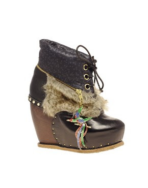Image 1 ofIrregular Choice Bun In The Oven Lace Up Wedge Clog Boots