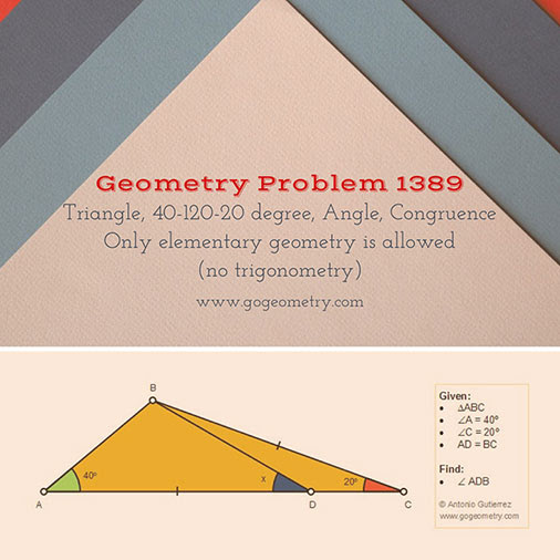 Poster of Geometry Problem 1389: Triangle, 40-120-20 degree, Angle, Congruence using iPad Apps, Software.