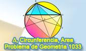 Problema de Geometría 1033 (English ESL): Triangulo, Circunferencia Circunscrita, Diámetro, Área
