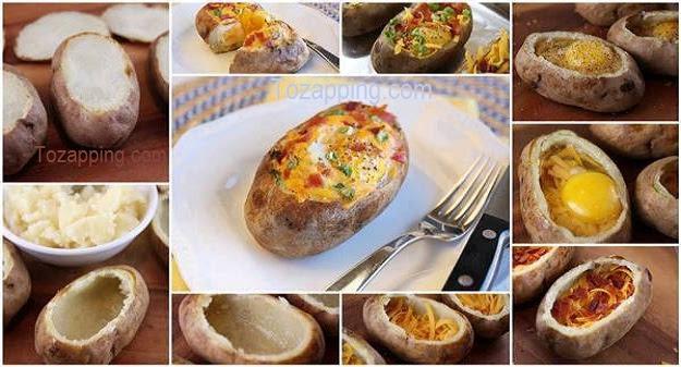Patatas Rellenas con Huevo al horno