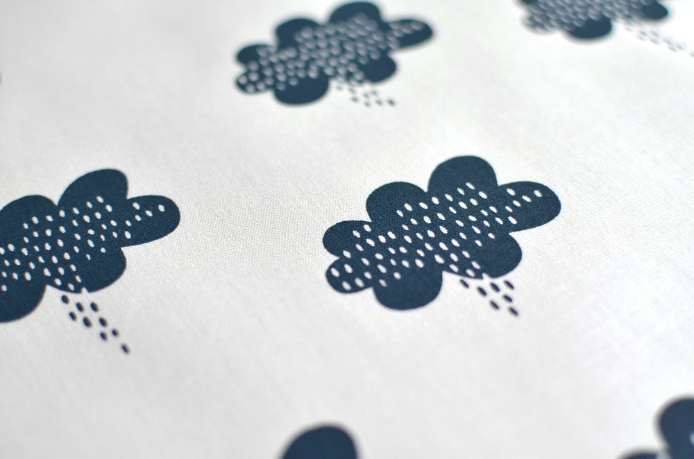 stormy weather in storm on bone handprinted fabric panel dark blue french navy - mazeandvale